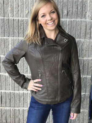 Adeline Coffee Moto Jacket