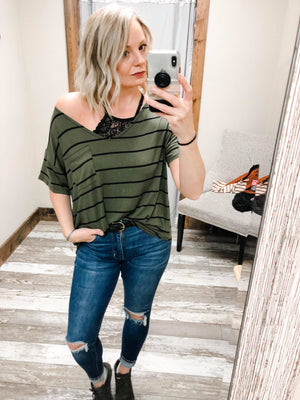 Selena Olive and Black Striped V-Neck