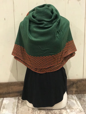 Green and Burnt Orange Scarf
