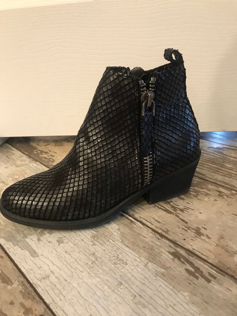 Cassidy Black Snake Skin Booties