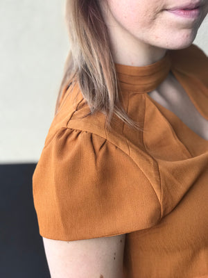 Holly Cognac Blouse with Pleated Shoulders