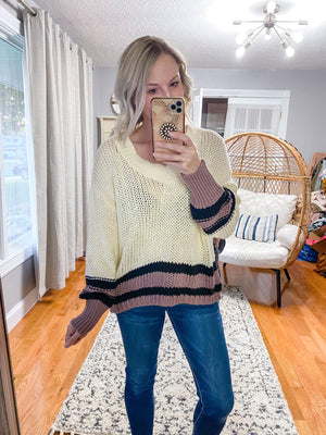 Josie Sweater with Colored Trim