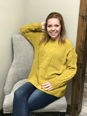 Kara Chenille Sweater w/ Cable Knit Pattern
