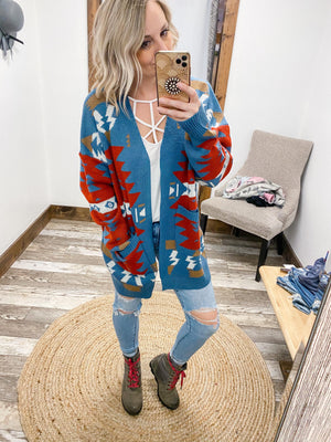 Blue Aztec Open Cardigan