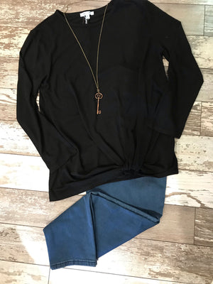 Curvy Long Sleeve Knotted Top