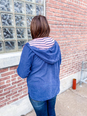 Sophia Lightweight Jacket with Striped Hoodie