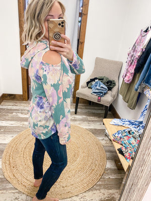 Floral Cold Shoulder Hoodie - Trendsetters Fashion Boutique