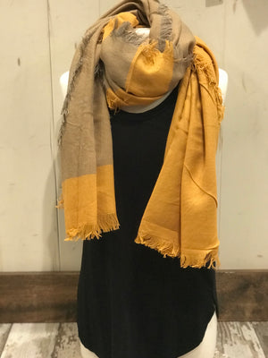 Mustard & Tan frayed scarf