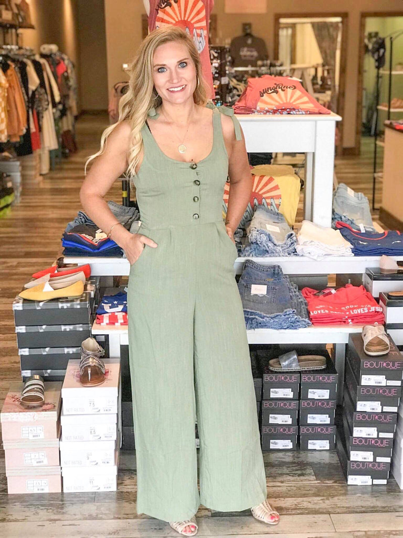 Giavanna Linen Button Jumpsuit