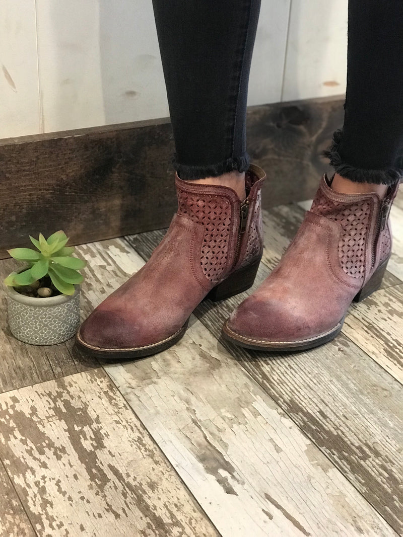 Bovina Red Leather Booties