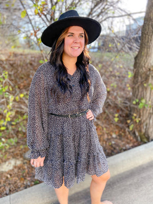 Leopard Print Chiffon Ruffle Dress