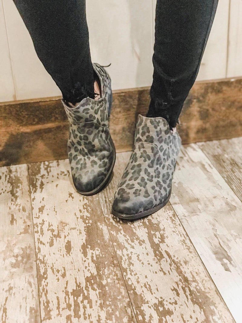 Spot On Leopard Khaki Booties