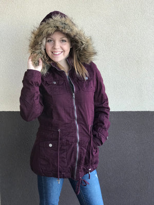 Erin Winter Jacket with Faux Fur Hood