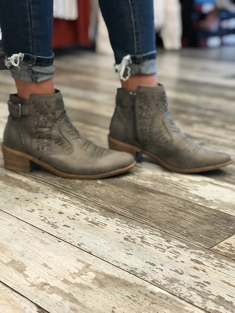 Tribal Laser Cut Grey Ankle Booties