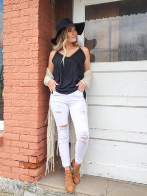Nala White Distressed Skinny Jeans