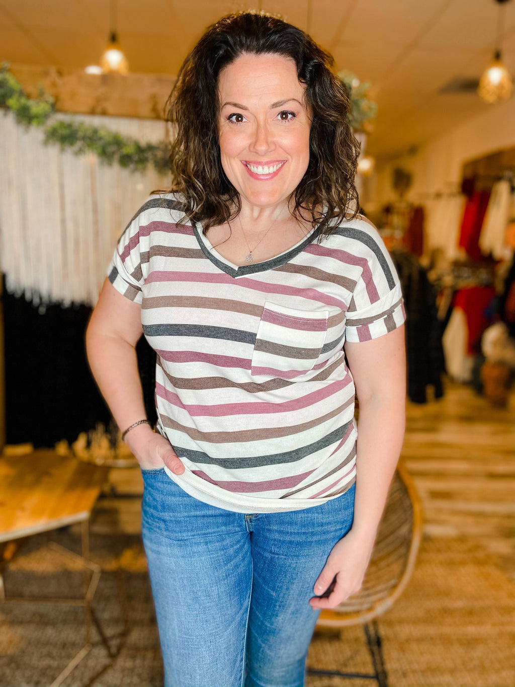 Ariel Striped V-neck Tee - Trendsetters Fashion Boutique