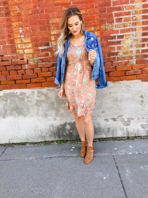 Apricot Paisley Printed Dress - Trendsetters Fashion Boutique