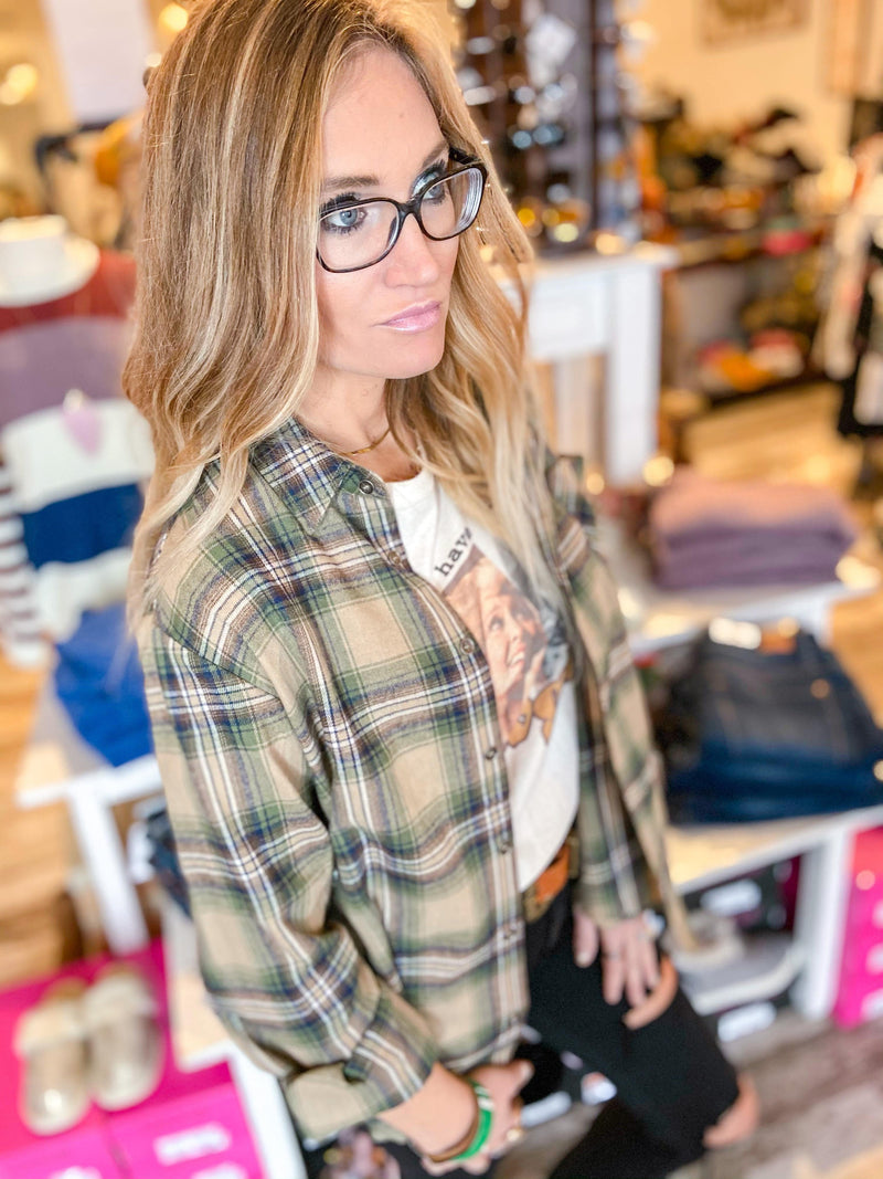 Daisy Plaid Shirt - Trendsetters Fashion Boutique