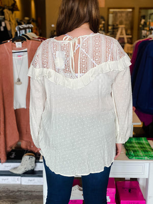 Amani Lace Yoke Bishop Sleeve Top