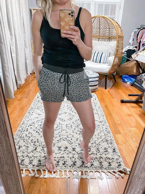 Animal Print Drawstring Shorts