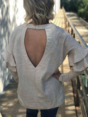 Sonia Ruffle Sleeve Tunic with Open Back