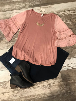 Mauve Top with Lace Sleeve