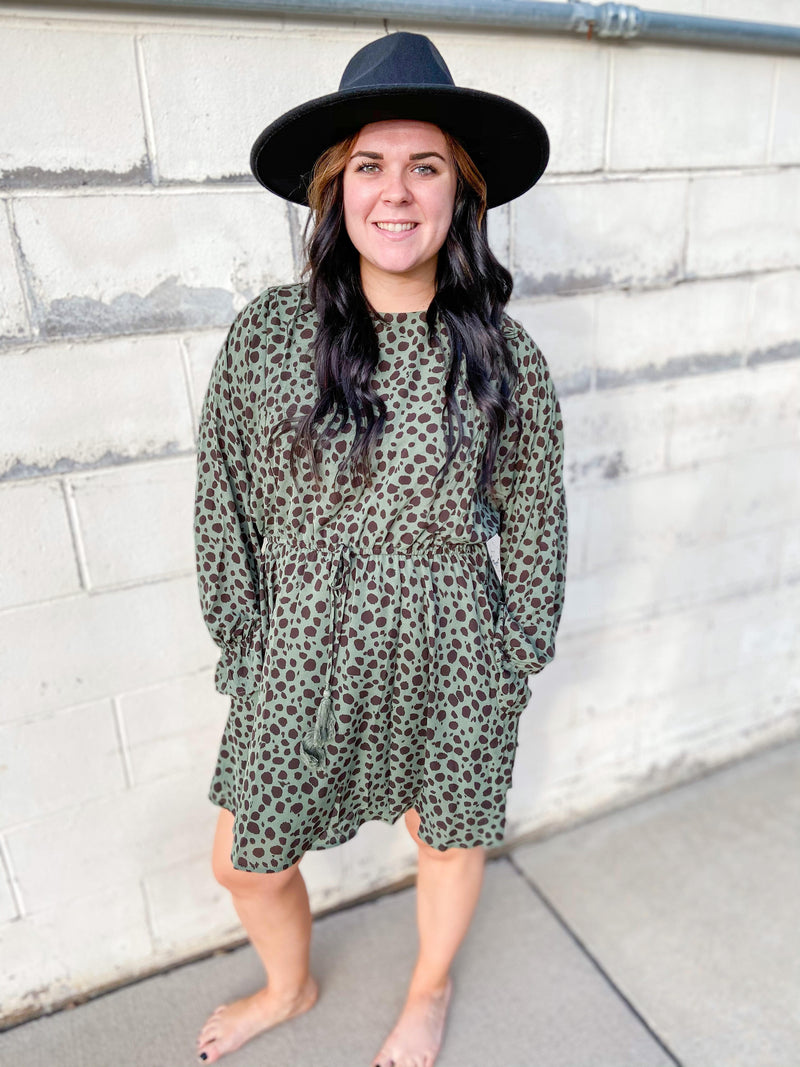 Shelby Olive Animal Print Dress