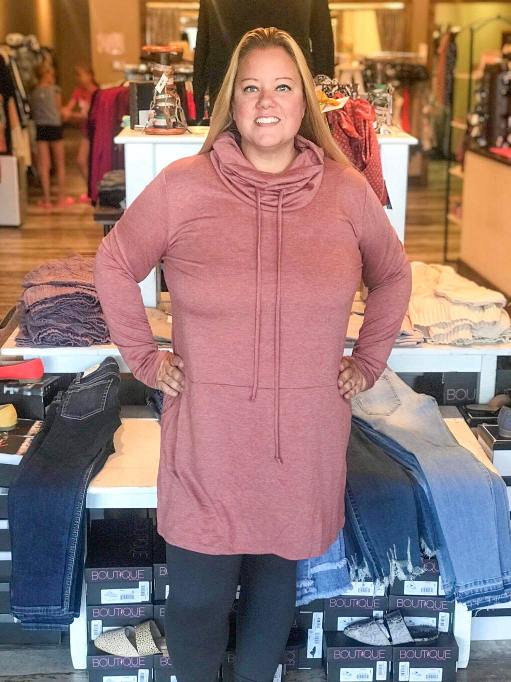 Curvy Cowlneck Casual Dress
