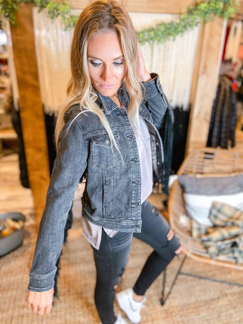 Black Denim Western Jacket - Trendsetters Fashion Boutique