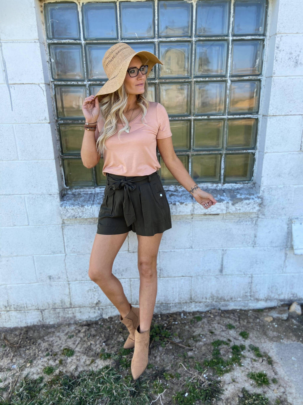 Addilynn Belted High Waisted Shorts
