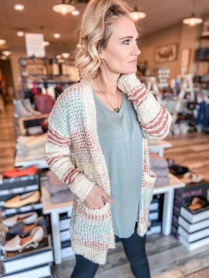 Sprinkle Cable Knit Cardigan with Pockets