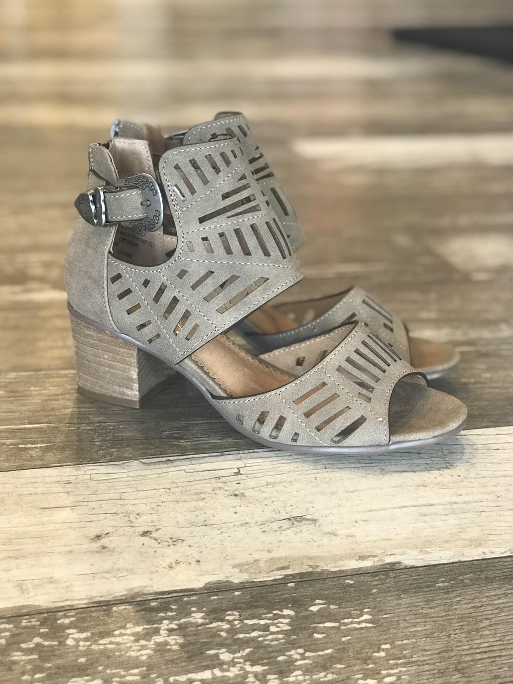 Abby Laser Cut Block Heels
