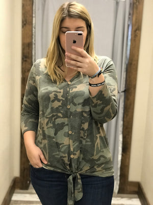 Joy Button Down Camo with Tie