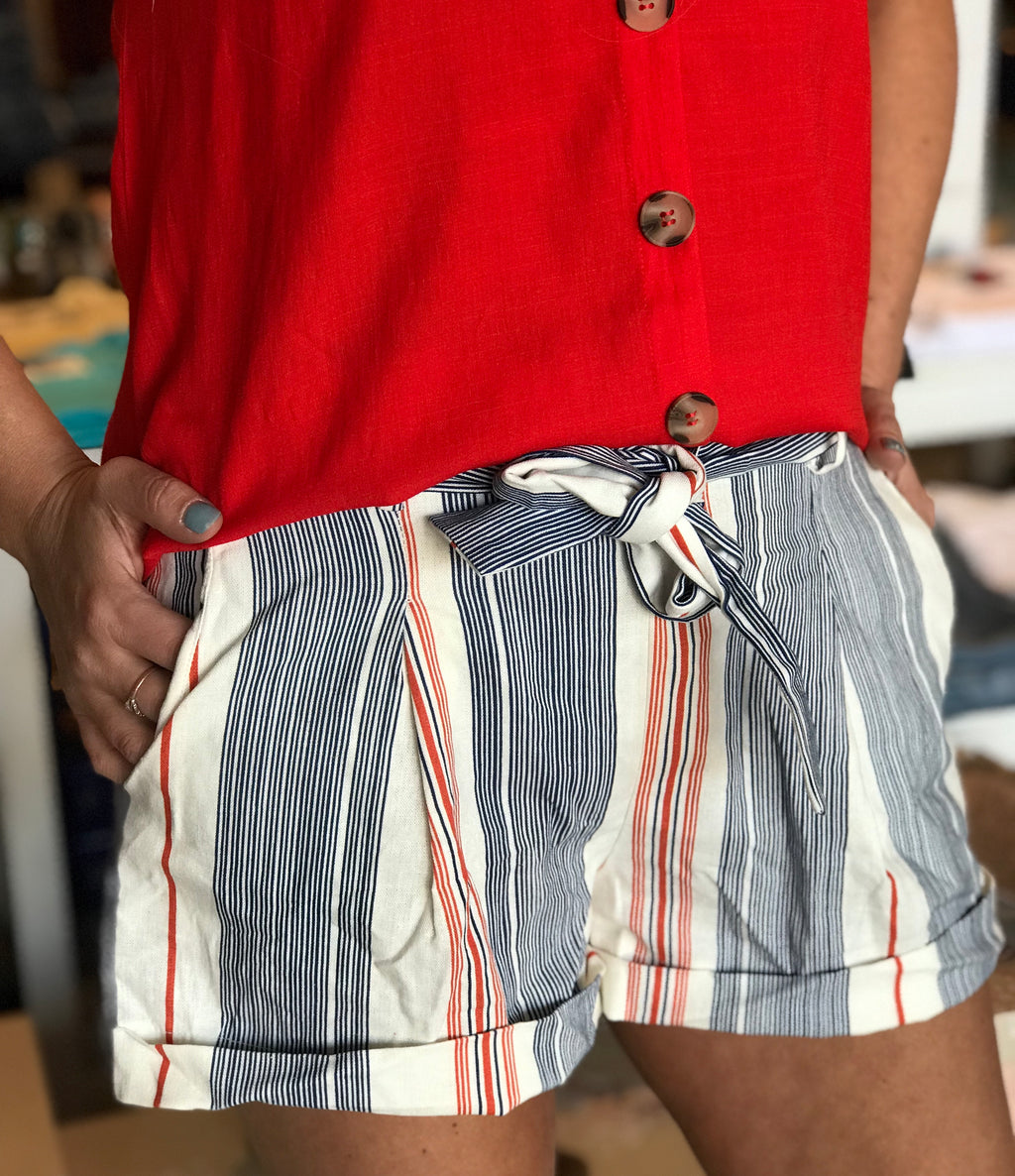 Liz Blue & Rust Striped Shorts