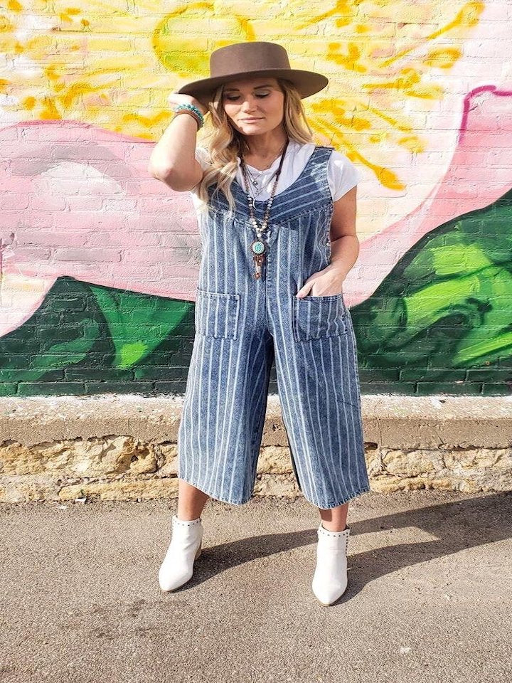 Meaghan Striped Culotte Denim Overalls