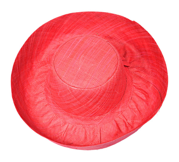 Red Raffia Hat - Medium Brim (J28RE)