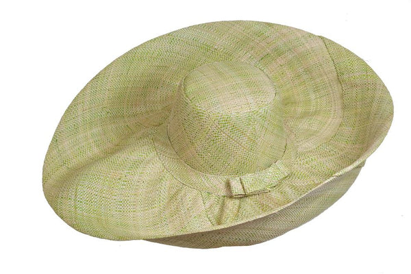 Wide Brim Fleck Raffia Hat  - Natural/Lime (J29fkL)