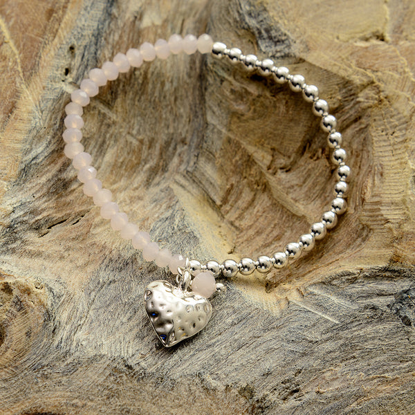 Pale Pink Hammered Heart Two Tone Bracelet