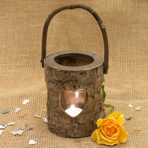 Birch Log Heart Hanging Lantern