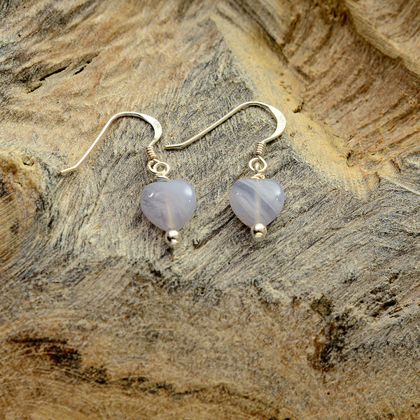 Pale Blue stone Heart Silver Earrings