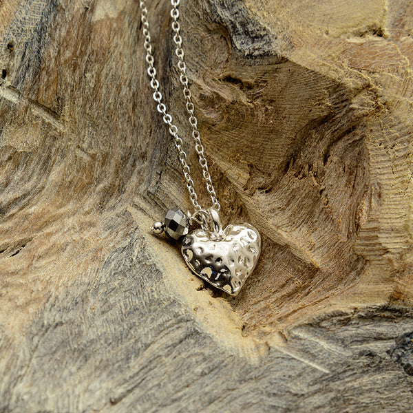 Charcoal Hammered Heart Necklace