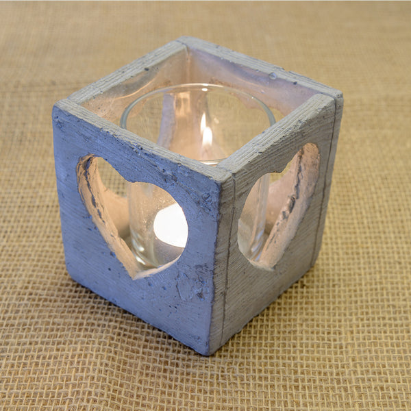 Square Rustic Grey Tea light holder