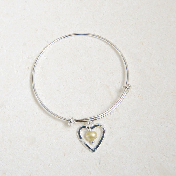 Silver Heart Bangle with Lime Green Pearl