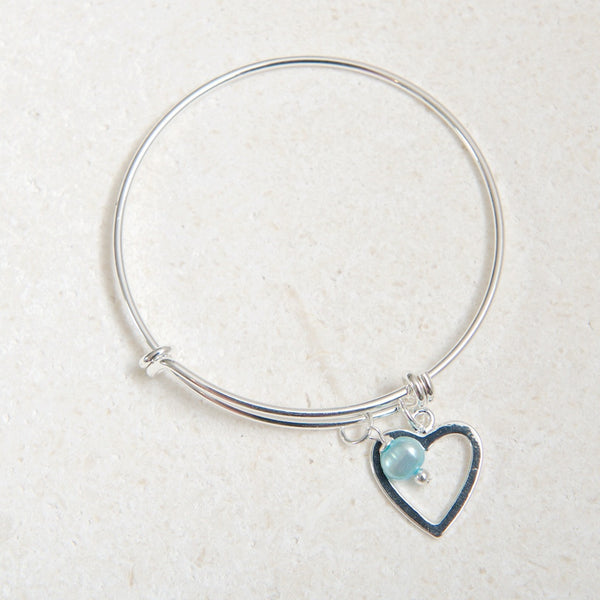 Silver Heart Bangle with Turquoise Pearl