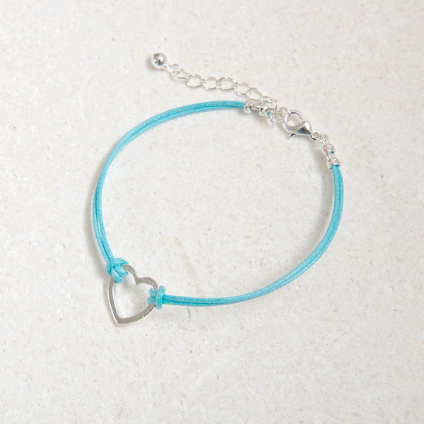 Coloured Cord Bracelet with Silver Heart