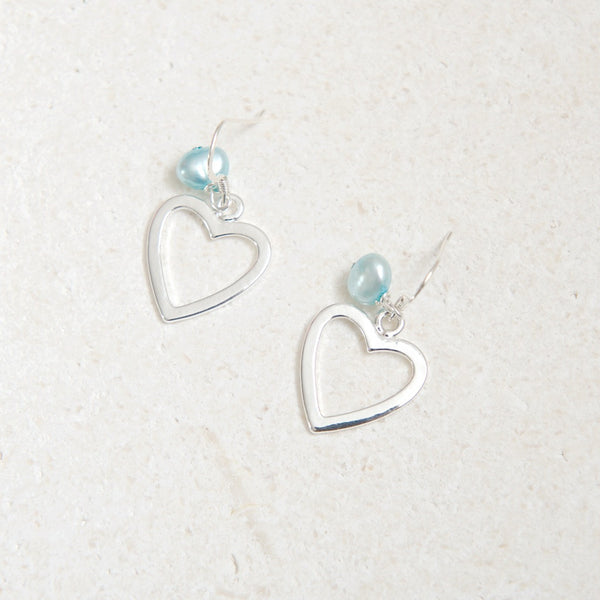 Large Heart Earring with Turquoise Pearl