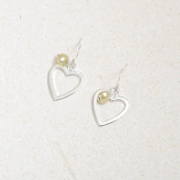 Large Heart Earring with Lime Green Pearl