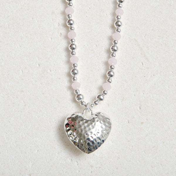 Long Chained Hammered Heart- Dusky Pink