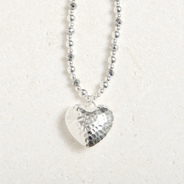Long Chained Hammered Heart- Charcoal