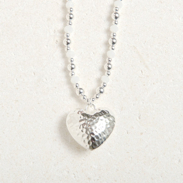 Long Chained Hammered Heart- White